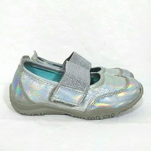 Silver holographic mary jane shoes